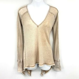 Free People Textured V-Neck Thermal Top XS